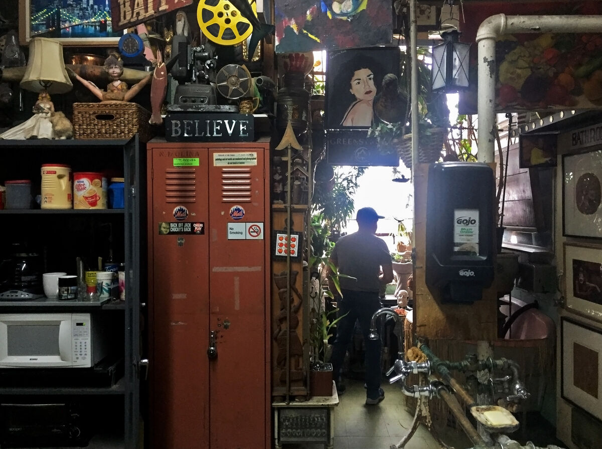 """Interior view of the """"Treasures in the Trash Museum."""""""