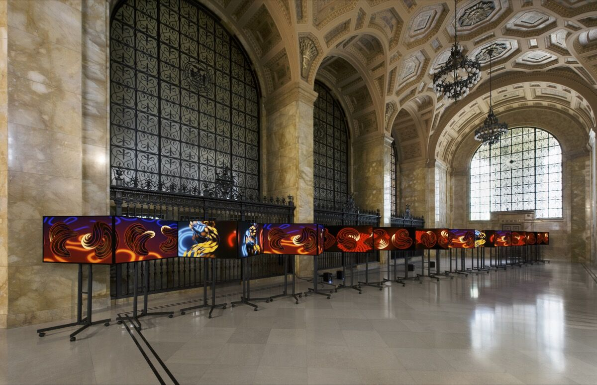 Installation view of Philip Vanderhyden, Volatility Smile 3, at the Federal Reserve Bank of Cleveland for FRONT International: Cleveland Triennial for Contemporary Art and The Andy Warhol Foundation for the Visual Arts, 2018. Photo by Field Studio.