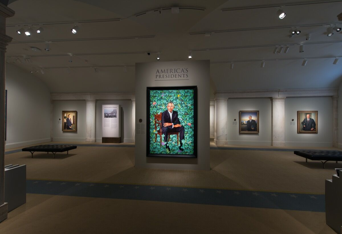 "Kehinde Wiley's portrait of President Barack Obama was installed in ""America's Presidents"" on February 13, 2018, the day after the unveiling ceremony. Photo by Mark Gulezian, National Portrait Gallery, Smithsonian Institution. Courtesy of Princeton University Press."