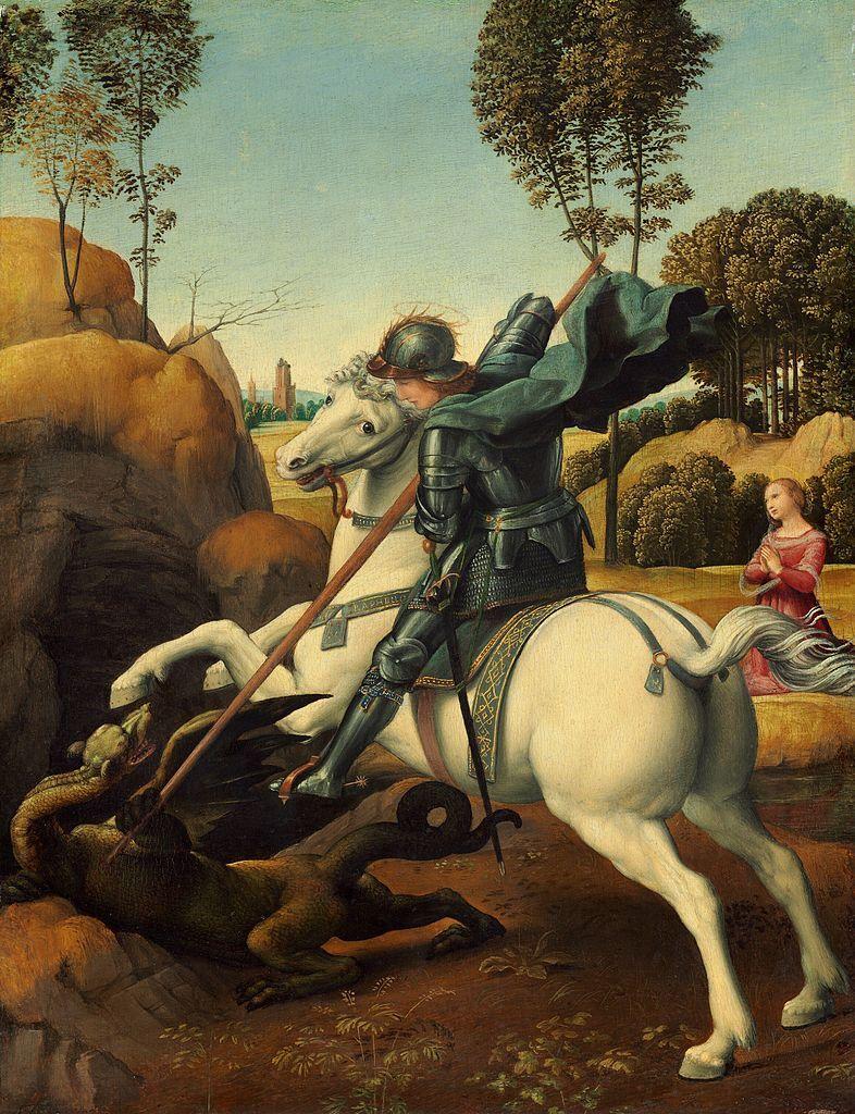 Raphael, Saint George and the Dragon, c. 1506. Photo via Wikimedia Commons.