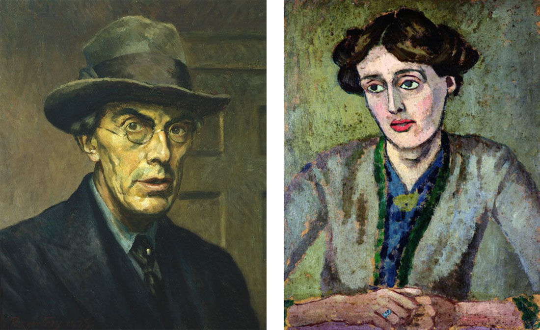 Left: Self-portrait of Roger Fry (1928). Image via Wikimedia Commons; Right: Portrait of Virginia Woolf by Roger Fry (1917). Image via Wikimedia Commons.