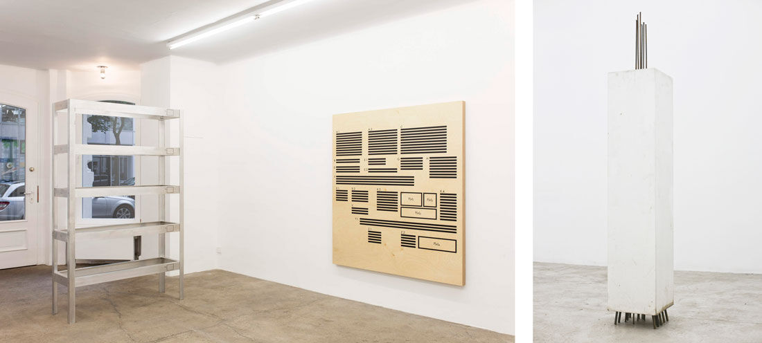 Left: Installation view of Thomas Locher, Gestell, 1990 (left) and A.1 - Z.2 (1989); Right: Gerry Bibby, I Plinth (standing room only). Images courtesy of Silberkuppe.