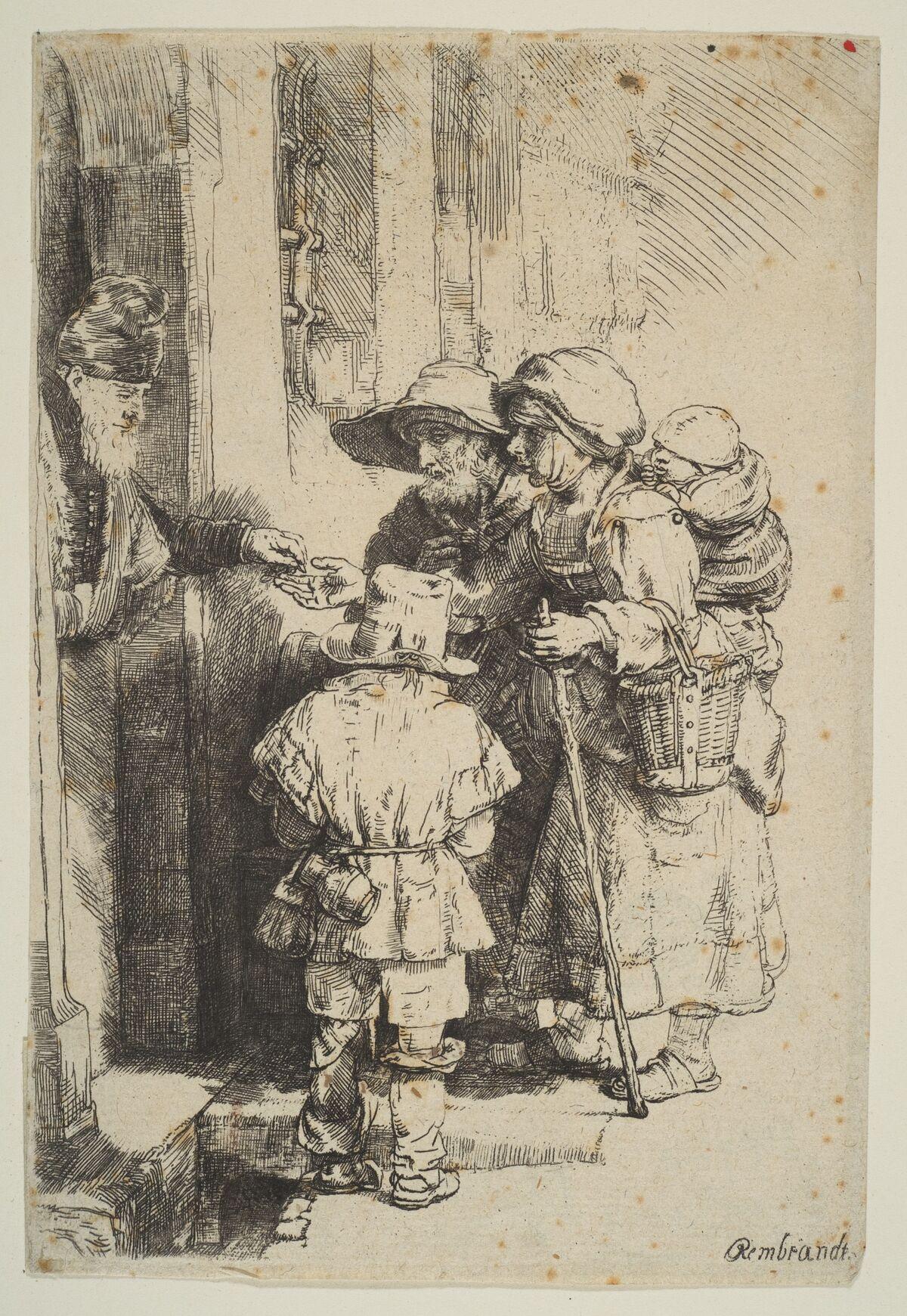 Rembrandt van Rijn, Beggars Receiving Alms at the Door of a House, 1648. Photo via The Metropolitan Museum of Modern Art.