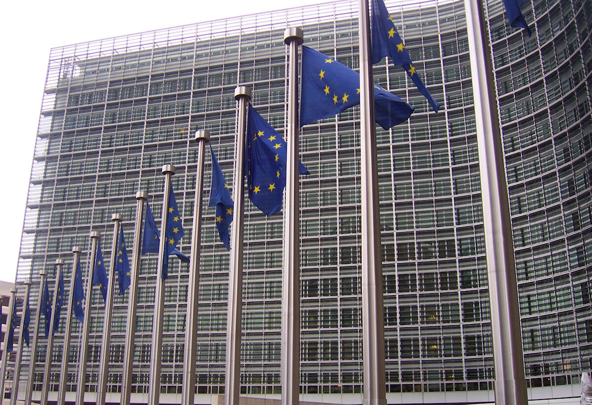European flags outside the headquarters of the European Commission in Brussels. Photo by Amio Cajander, via Wikimedia Commons.