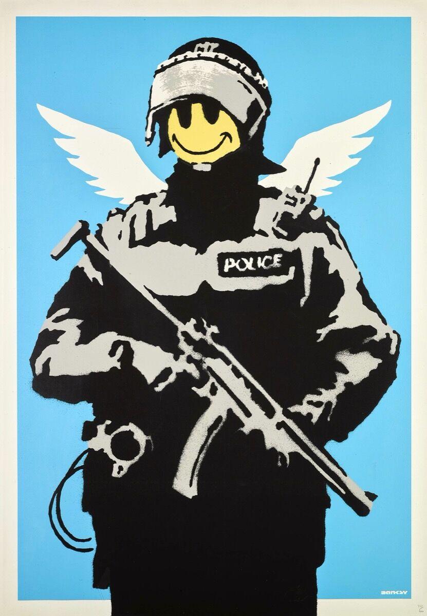 Banksy, Flying Copper, 2003. Courtesy of Sotheby's.