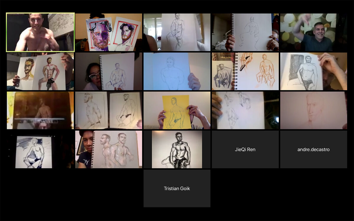 Virtual figure-drawing class held on Zoom. Courtesy of Angelica Frey.