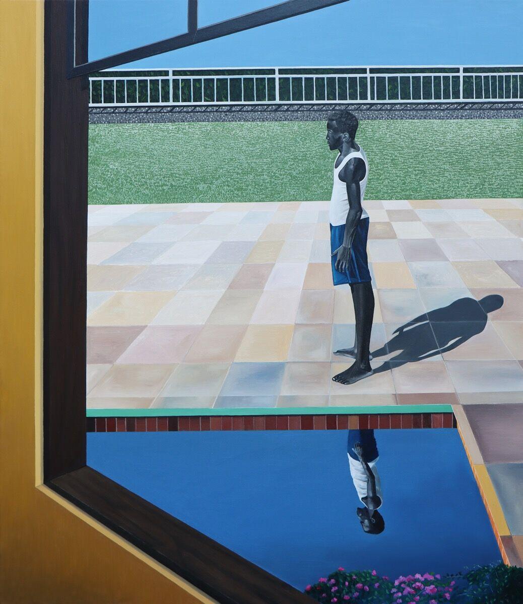 Ian Mwesiga, Man Standing by the Pool, 2020. Courtesy of Mariane Ibrahim.