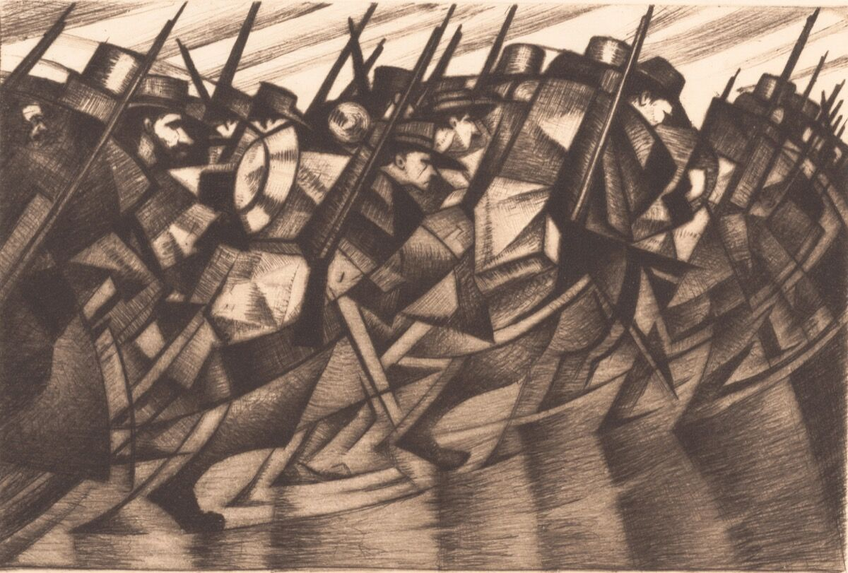 Christopher Richard Wynne Nevinson, Returning to the Trenches, 1916. Courtesy of The Metropolitan Museum of Art.