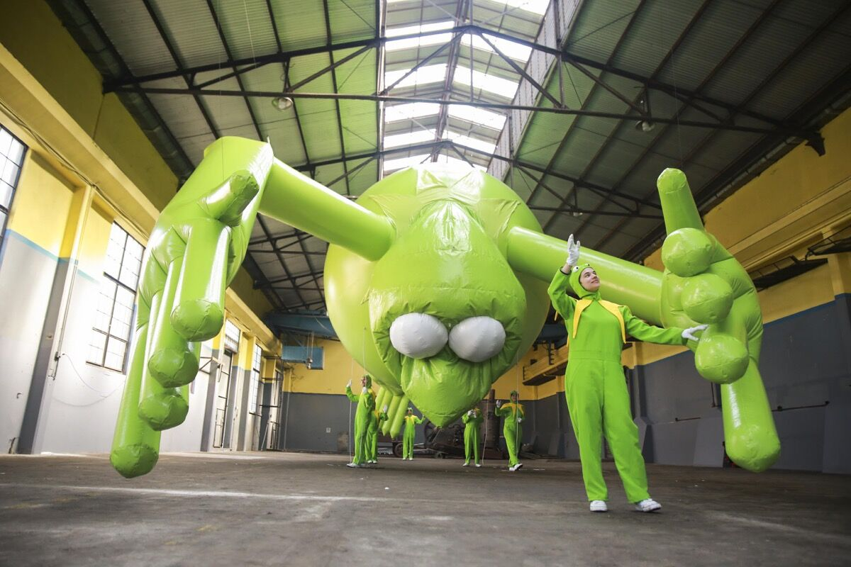 """Installation view of Alex Da Corte, Kermit the Frog, Even, as part of """"Hopscotch (Rayuela),"""" at Art Basel Cities: Buenos Aires, 2018. Courtesy of Art Basel."""