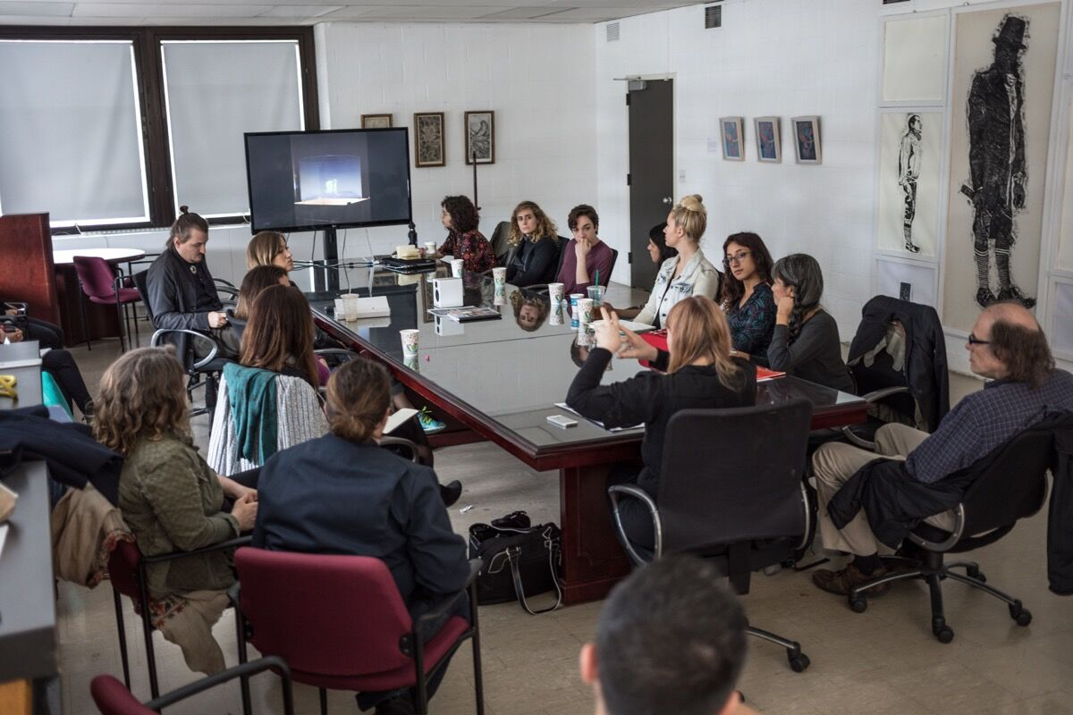 Chrissie Iles, curator at the Whitney Museum of American Art, lecturing in the seminar room, 2017. Courtesy of Stony Brook University.