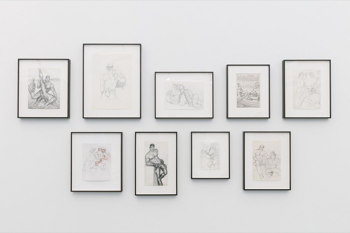 Installation view of Tom of Finland's work in David Kordansky's booth at Frieze New York, 2018. Photo by Mark Blower. Courtesy of Mark Blower/Frieze.