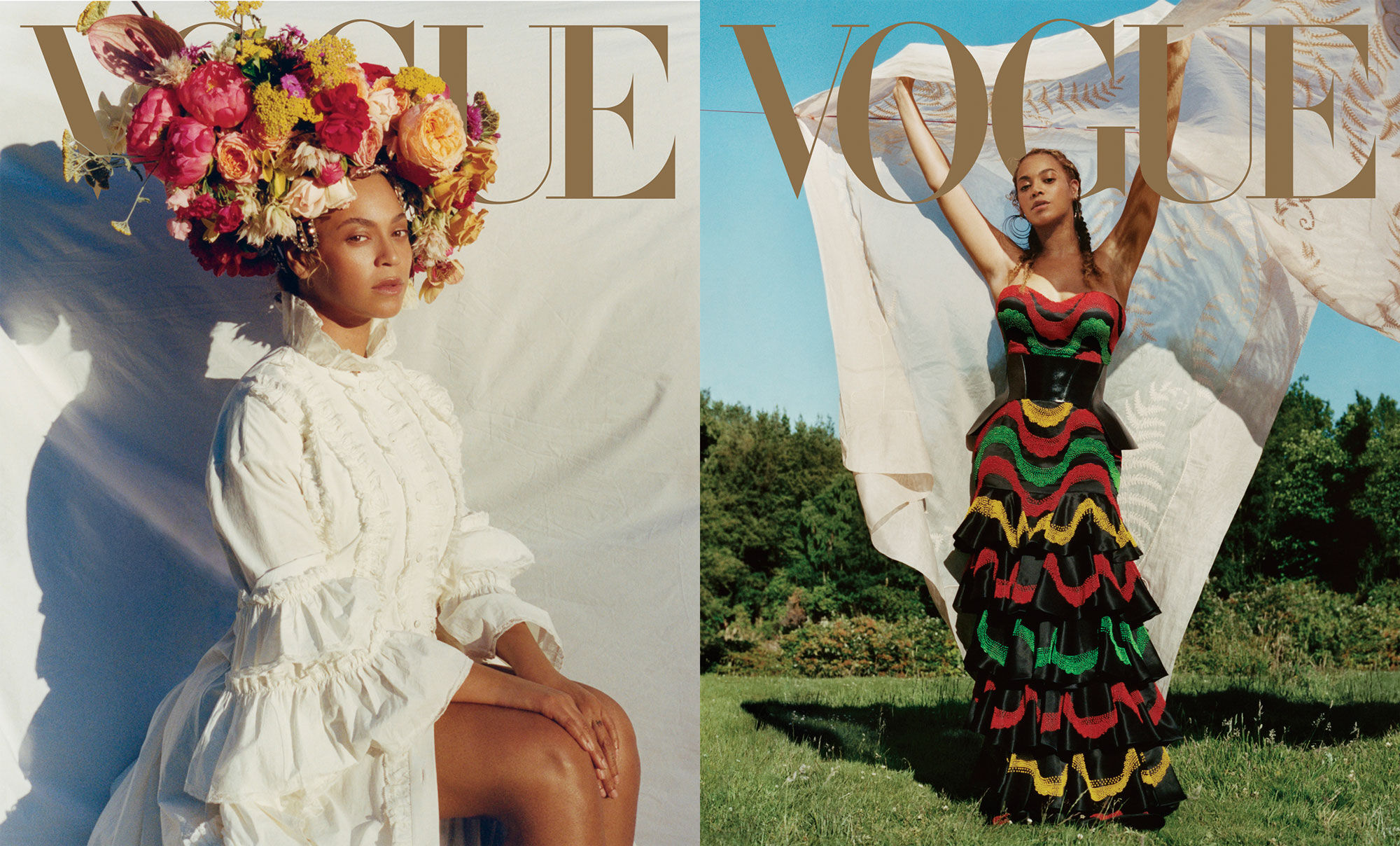Tyler Mitchell's portraits of Beyoncé on the September cover of Vogue, 2018. Styling by Kwasi Fordjur. Fashion editor Tonne Goodman. Courtesy of the artist.