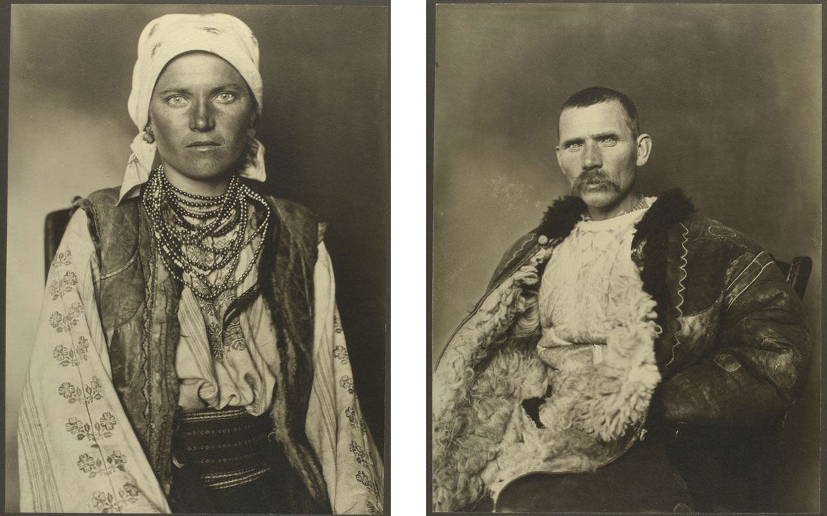 Left: Ruthenian woman. Right: Romanian shepherd. Photographs by Augustus Sherman, via the NYPL Digital Collections.