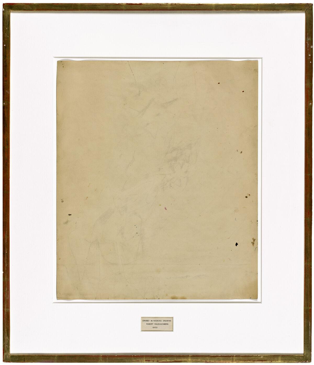 Robert Rauschenberg with Willem de Kooning and Jasper Johns, Erased de Kooning Drawing, 1953. Photo by Ben Blackwell. © 2017 Robert Rauschenberg Foundation, courtesy of the Museum of Modern Art.