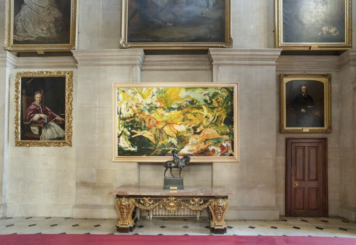 """Cecily Brown, installation view of Hunt with Nature Morte and Blenheim Spaniel, 2019, in """"Cecily Brown at Blenheim Palace,"""" 2020. Photo by Tom Lindboe. Courtesy of Blenheim Art Foundation."""