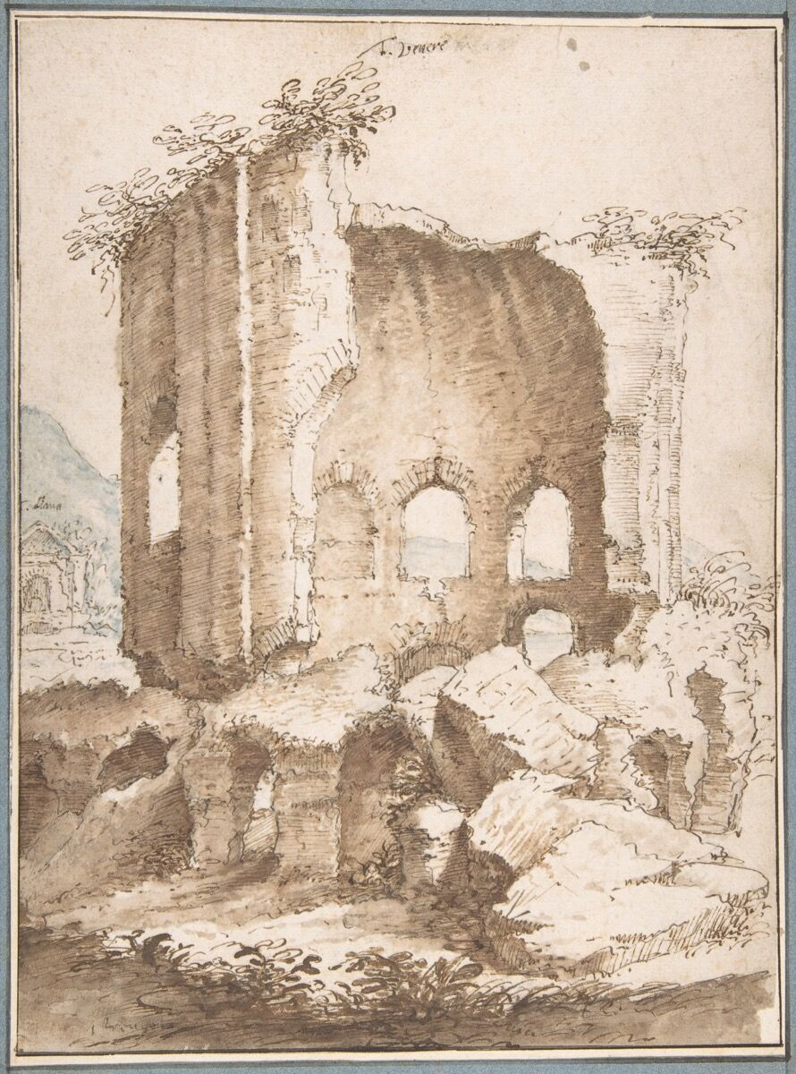 """In his memoir, Drawn to Trouble, Eric Hebborn claimed he forged this etching, which ended up in the collection of the Metropolitan Museum. Both the museum and Hebborn's former romantic partner dispute this account. The Met attributes View of the Temples of Venus and of Diana in Baia from the South (ca. 1594) to the """"circle of Jan Brueghel the Elder."""" Image courtesy of the Metropolitan Museum of Art."""