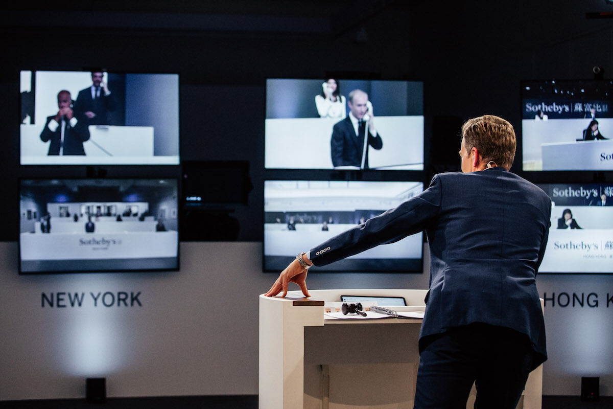 Oliver Barker conducts Sotheby's virtual auction on June 30th. Photo courtesy Sotheby's.