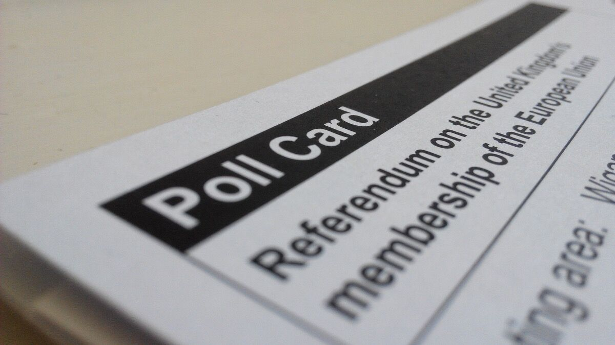 A poll card for the E.U. referendum. Photo by Abi Begum, via Flickr.