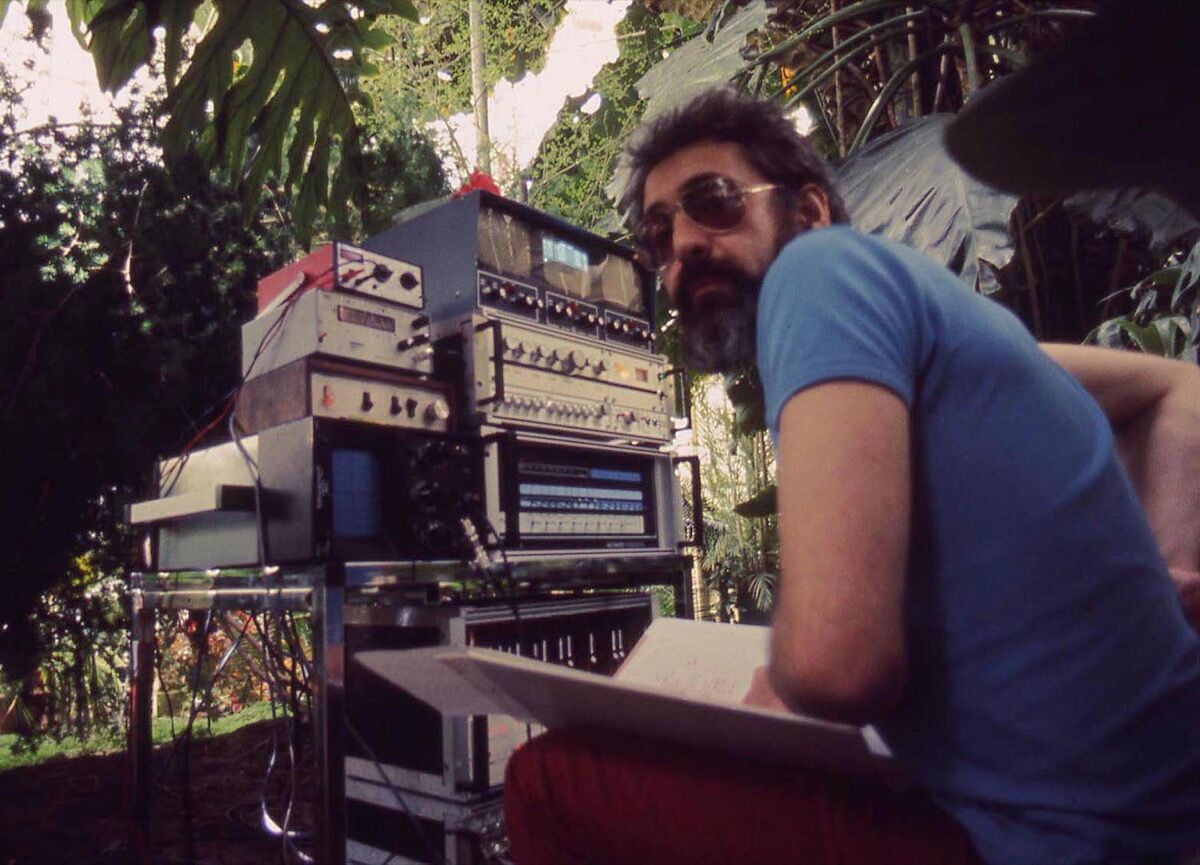 John Lifton with his rack of plant sensing, signal processing, and music synthesis systems in the Plant Conservatory in Golden Gate Park. © Richard Lowenberg. Courtesy of the artist.