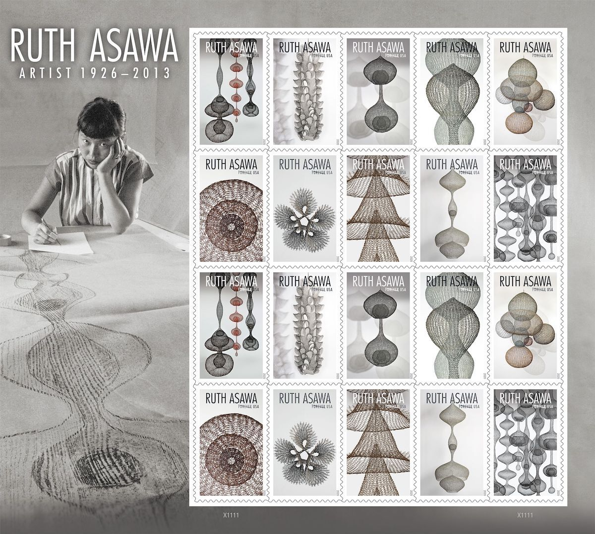 Ruth Asawa's new USPS stamp series. Image courtesy of United States Postal Service.