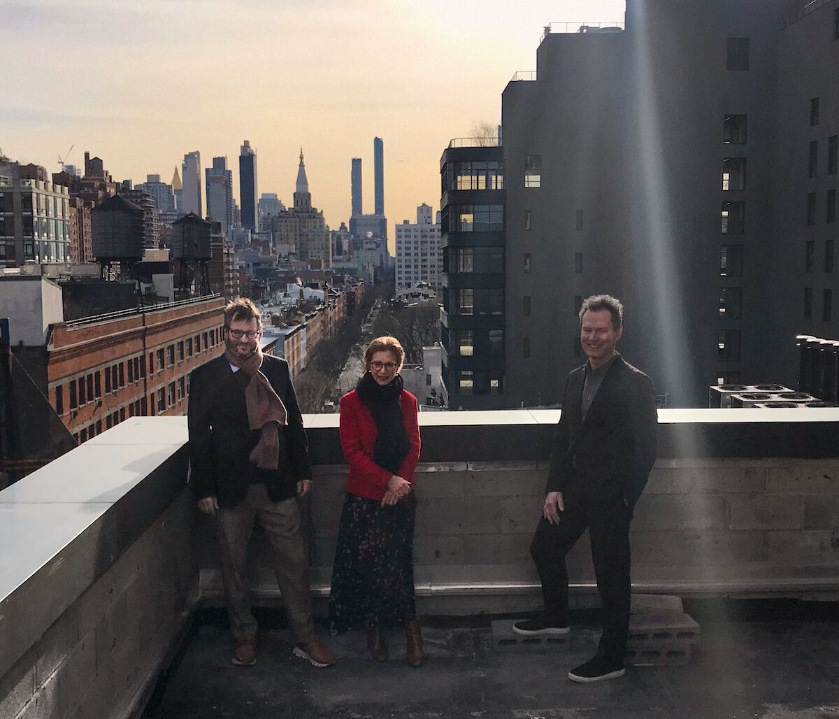 From left to right: Iwan Wirth, Manuela Wirth, and Marc Payot in early February 2020. Photo courtesy of Hauser & Wirth.