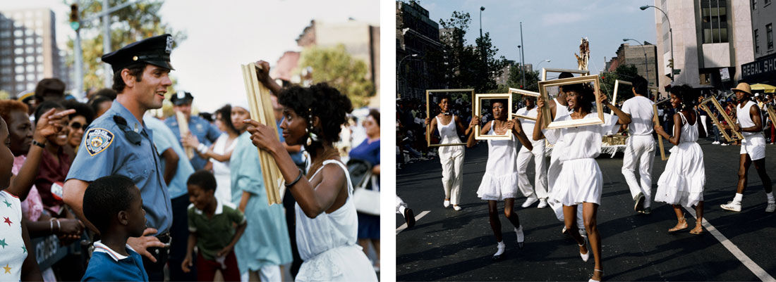 Left: Lorraine O'Grady, Framing Cop, 1983. Right: Lorraine O'Grady, Troupe Front, 1983. Photos courtesy of the Studio Museum in Harlem.