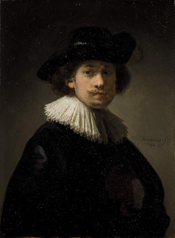 Rembrandt Van Rijn, Self-portrait, wearing a ruff and black hat, 1632. Courtesy of Sotheby's.