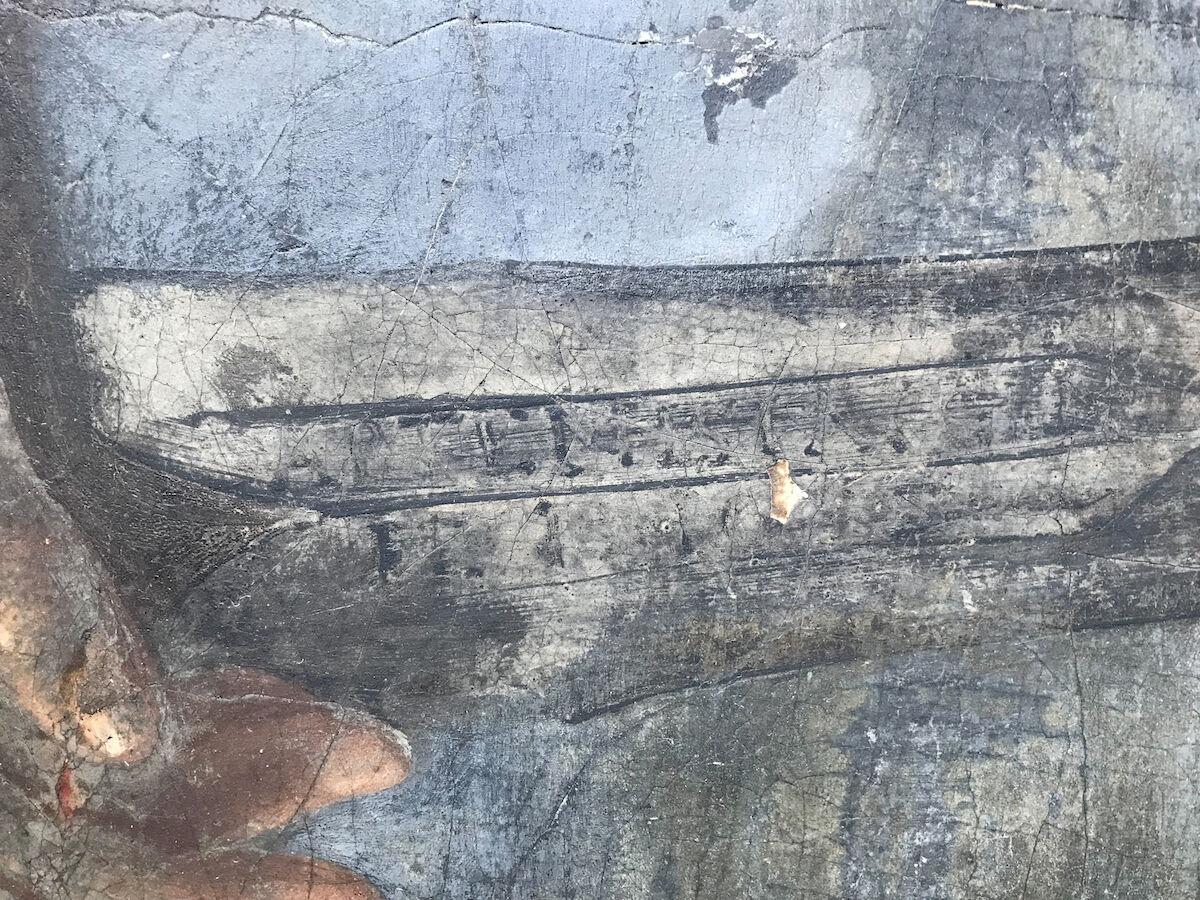"Detail of David and Goliath (late 1630s) showing the word ""Artemisia."" Photo courtesy Simon Gillespie Studio."