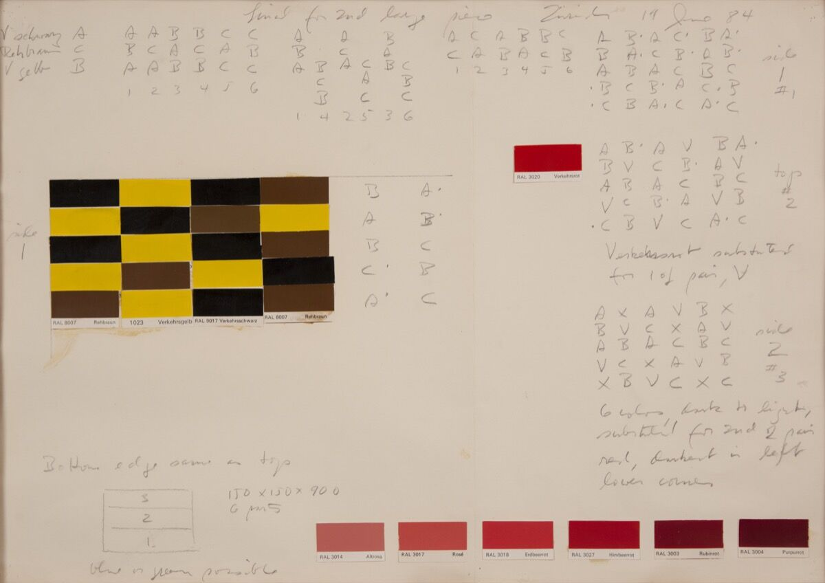 Drawing for untitled, 1984, color samples from RAL color chart. Courtesy of the Judd Foundation.