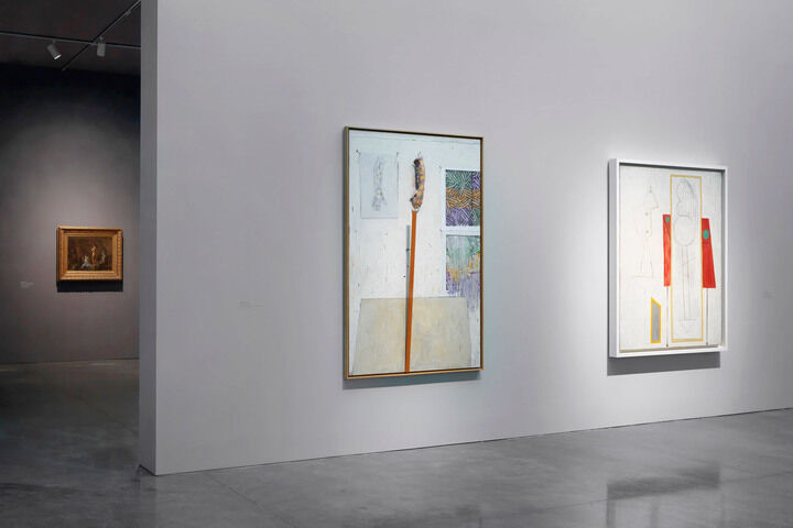 Near left to right: © Jasper Johns/Licensed by VAGA, New York; © 2015 Estate of Pablo Picasso/Artists Rights Society (ARS), New York © Gagosian Gallery. Photo by Robert McKeever.