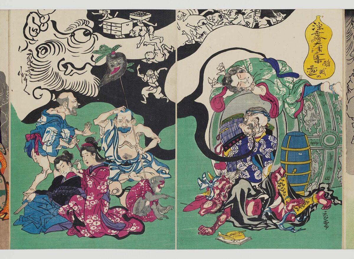 Kawanabe Kyōsai, Figures from Ôtsu-e Paintings of the Floating World in a Drunken Stupor (Ukiyo-e Ôtsu no renchû suimin no zu), ca. 1868. Courtesy of the Museum of Fine Arts Boston.