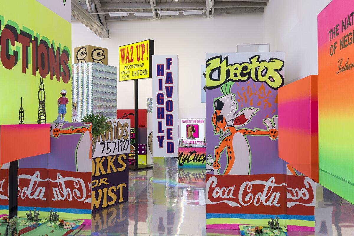 Installation view of Lauren Halsey at David Kordansky Gallery, Los Angeles. Photo by Jeff McLane. Courtesy of David Kordansky Gallery.