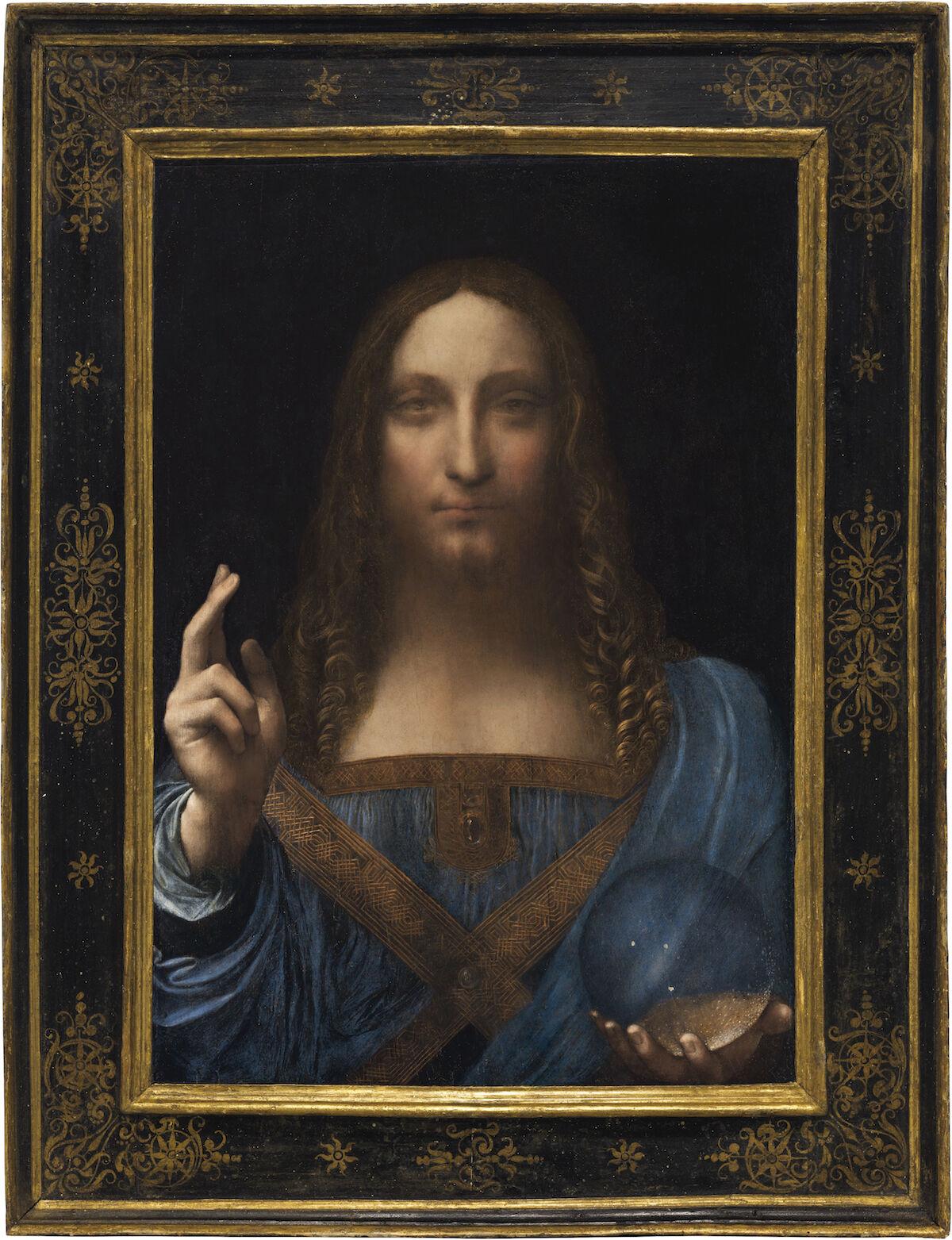 Leonardo da Vinci, Salvator Mundi, circa 1500. Courtesy Abu Dhabi Tourism & Culture Authority, via Wikimedia Commons.