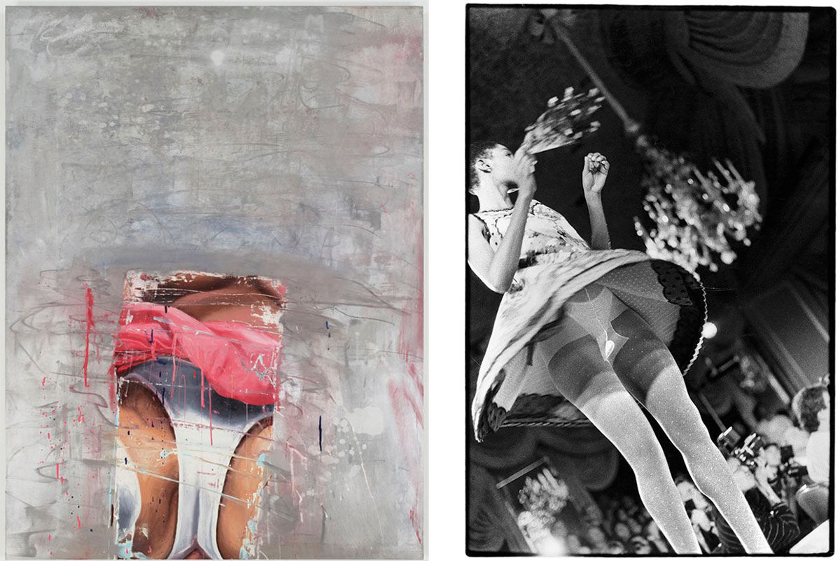 Left: Marilyn Minter, Flurry, 1994. Courtesy of the artist and Salon 94, New York; Right: Zoe Leonard, Frontal View Geoffrey Benne Fashion Show, 1990. Courtesy of the artist and Hauser & Wirth. Images courtesy of Maccarone.