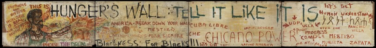 Unidentified artist, Plywood panel mural from Resurrection City, 1968. Collection of the Smithsonian National Museum of African American History and Culture, Gift of Vincent DeForest. Image courtesy of NMAAHC.