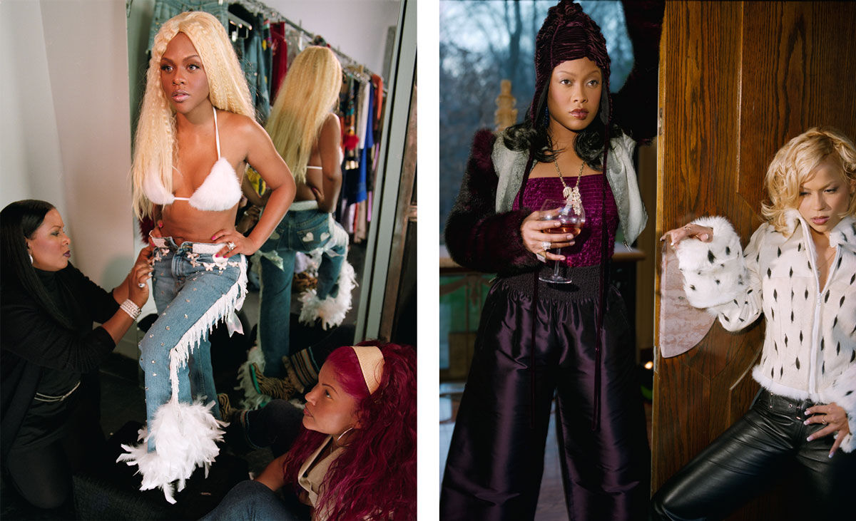 Left: Gillian Laub, Lil Kim getting fitted, 1999; Right: Gillian Laub, Da Brat and her girlfriend.Images courtesy of Benrubi Gallery.