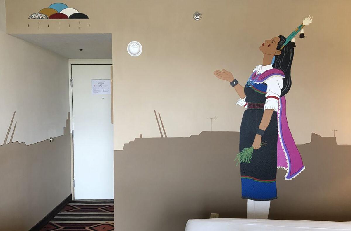 Jason Garcia (Santa Clara Pueblo Tewa) and David Naranjo (Santa Clara Pueblo), Corn Maiden wall mural at Nativo Lodge, Albuquerque. Courtesy of Native Arts and Cultures Foundation.