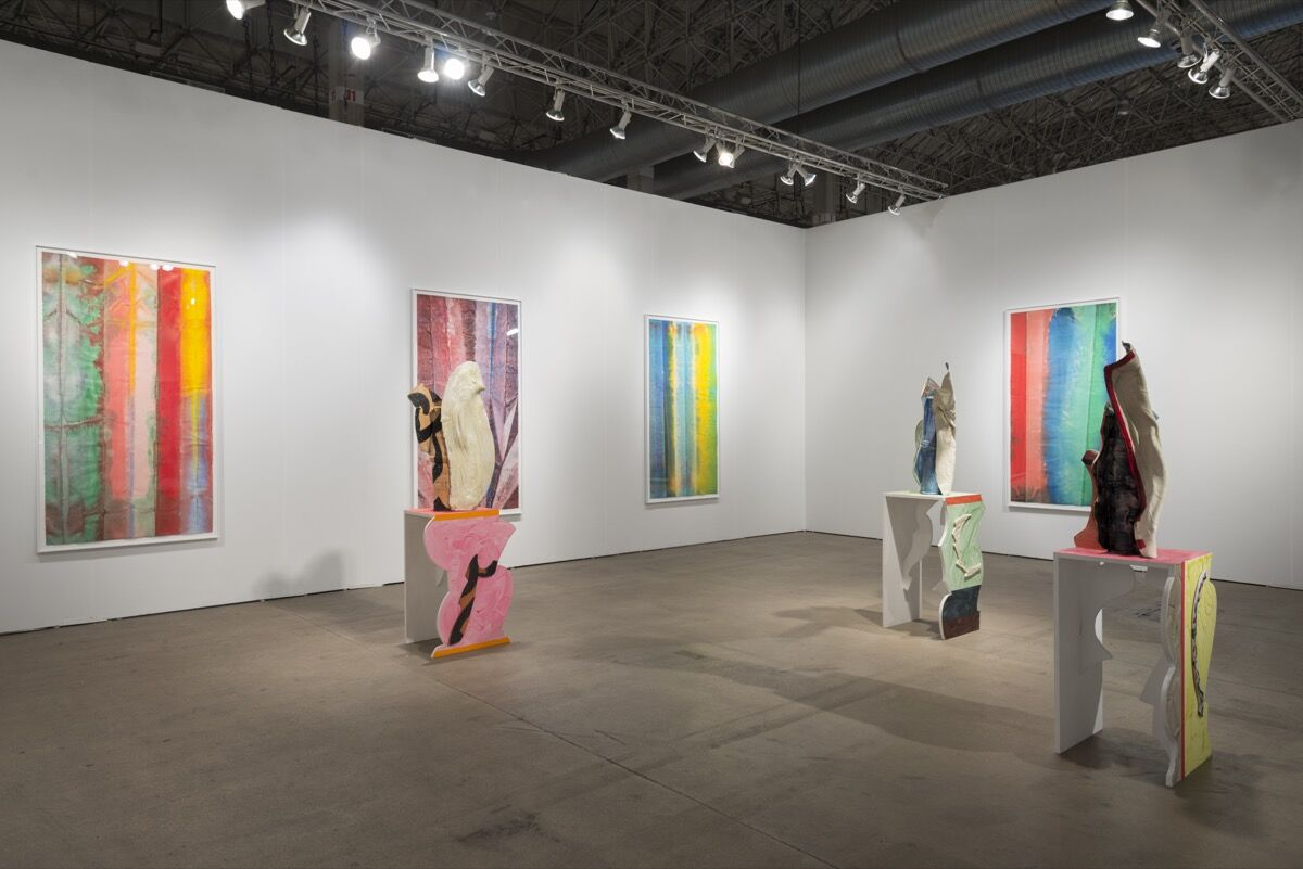Installation view of David Kordansky Gallery's booth at EXPO CHICAGO, 2016. Photo by Nathan Keay, courtesy of David Kordansky Gallery, Los Angeles.