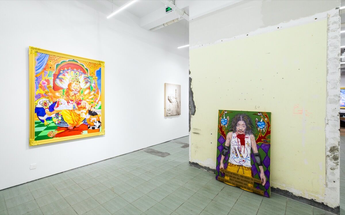 """Installation view of """"Tianzhuo Chen: Backstage Boys"""" and """"Lu Yang: Debut"""" at BANK, 2019. Courtesy of BANK."""