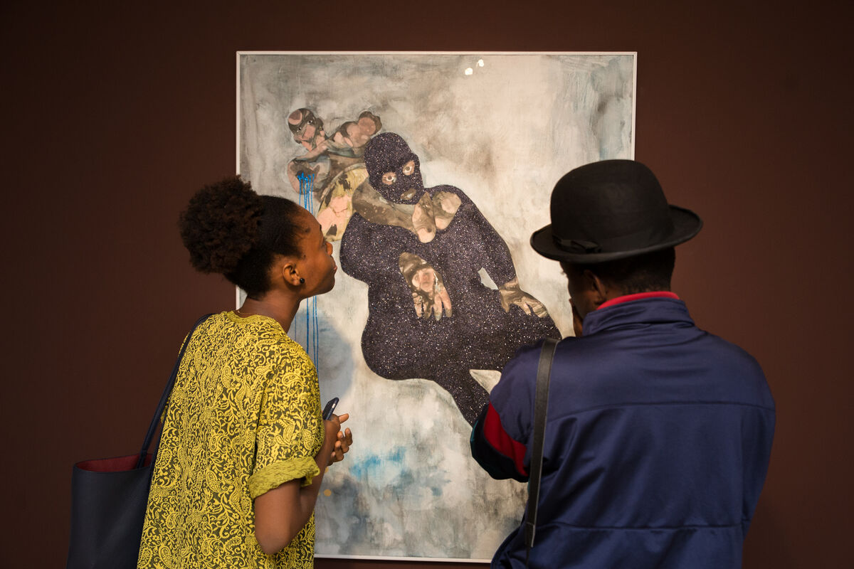 """Installation view of Florine Demosthene's work in """"The Stories I Tell Myself,"""" at Gallery 1957 in Accra, Ghana."""