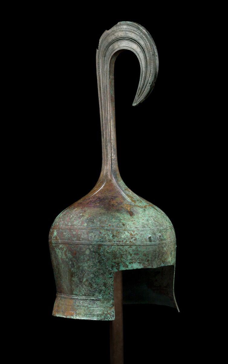 A Greek Bronze Helmet of the Cretan Type, Archaic Period, ca. 650–620 B.C. Courtesy of Kallos Gallery.