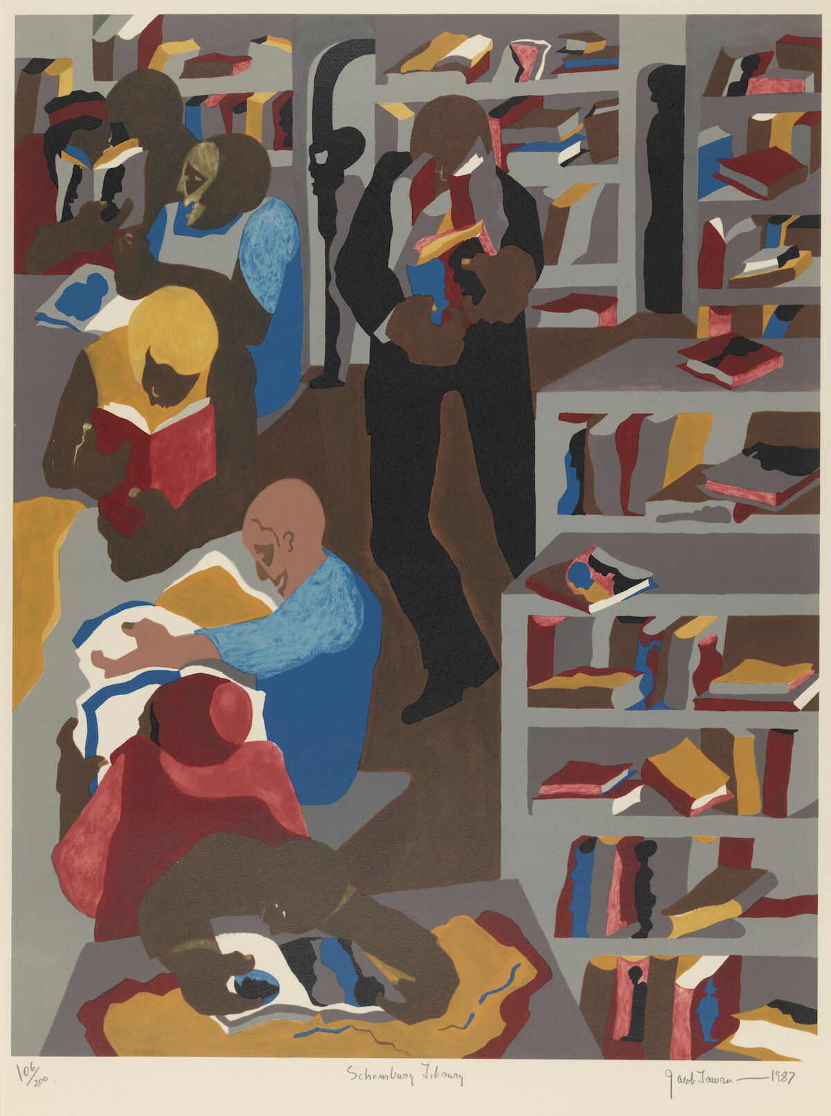 Jacob Lawrence, Schomburg Library, 1987, silkscreen. Courtesy the Pennsylvania Academy of Fine Arts.