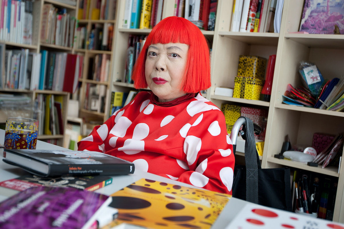 Yayoi Kusama at her studio in Tokyo. Photo by Jeremy Sutton-Hibbert via Getty Images.