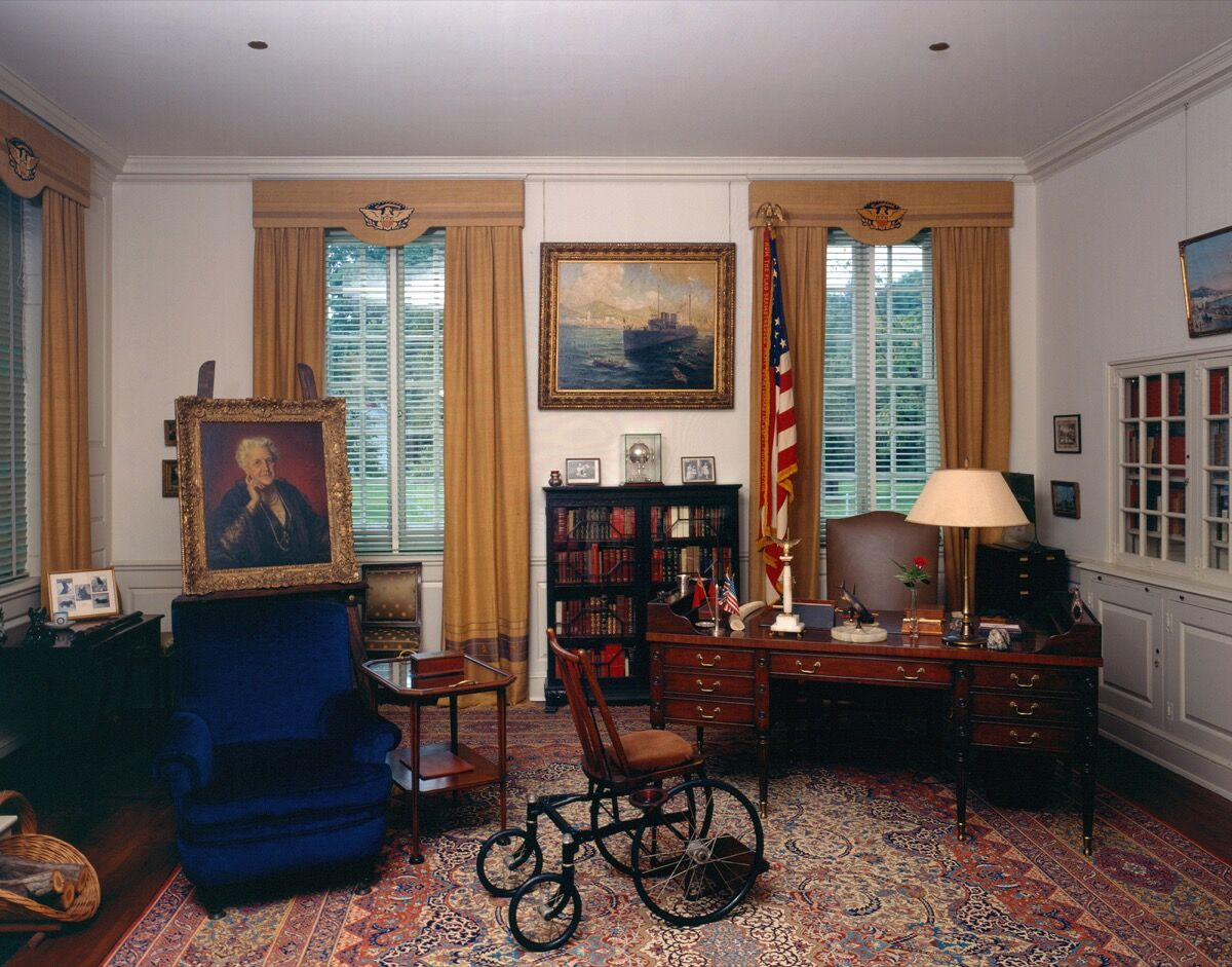 President Roosevelt's private study, preserved as he left it during his final visit in March 1945. Photo by FDR Presidential Library & Museum, via Flickr.