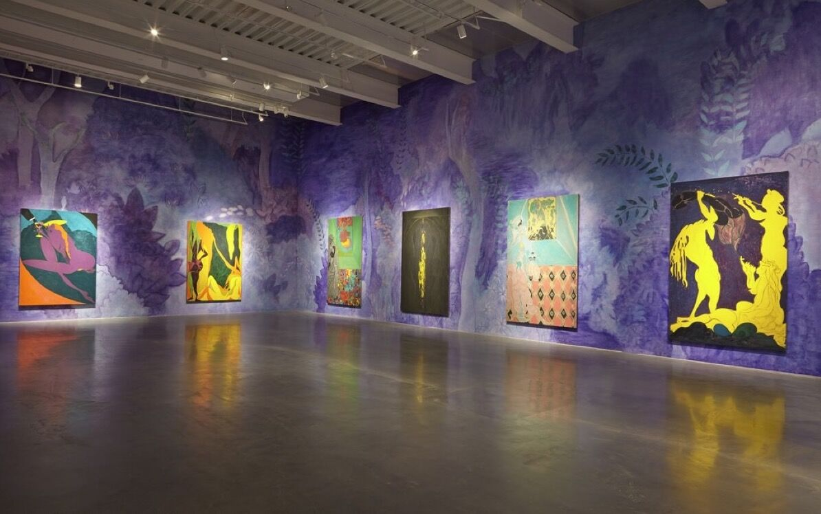 """Installation image for """"Chris Ofili: Night and Day,"""" courtesy of New Museum, New York. Photo by Benoit Pailley."""