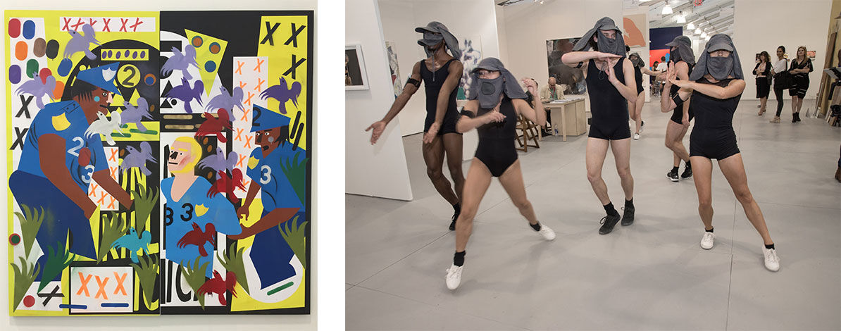 Nina Chanel Abney, Untitled (XXXXXX), 2015. Image courtesy of Kravets/Wehby Gallery;  Madeline Hollander, MILE, 2015, part of UNTITLED., performances. Photo bySandra Hamburg, courtesy of Madeline Hollander.