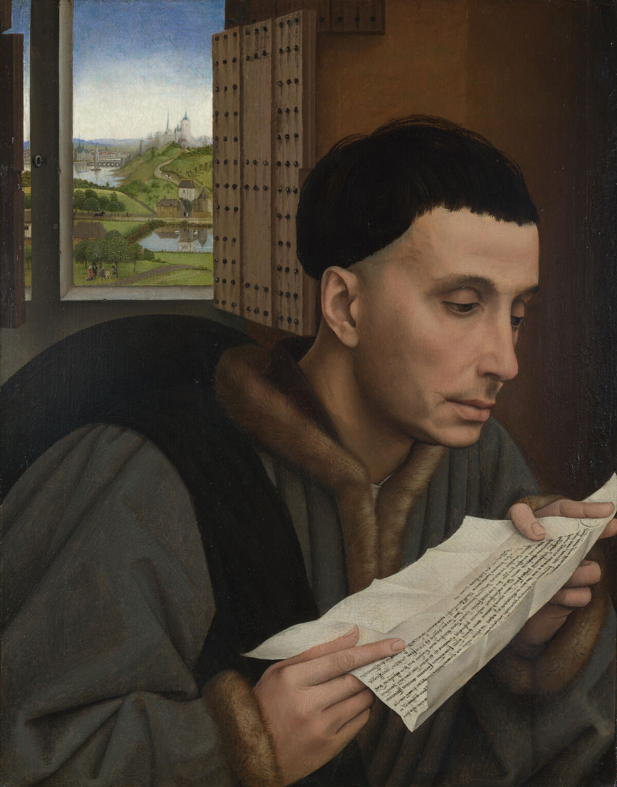 Painting attributed to the workshop of Rogier van der Weyden, A Man Reading (Saint Ivo?), about 1450. National Gallery, London, via Wikimedia Commons.