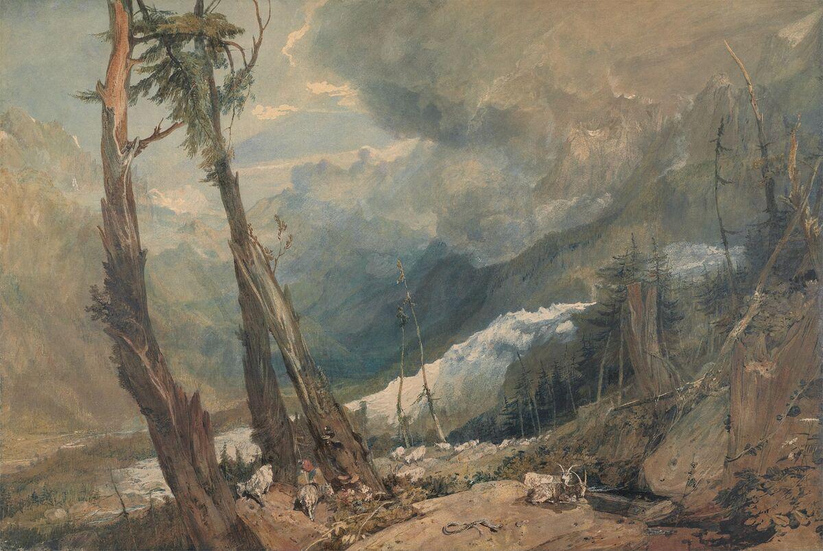 JMW Turner, Mer de Glace, en el valle de Chamouni, Suiza, 1803. Imagen a través de Wikimedia Commons.