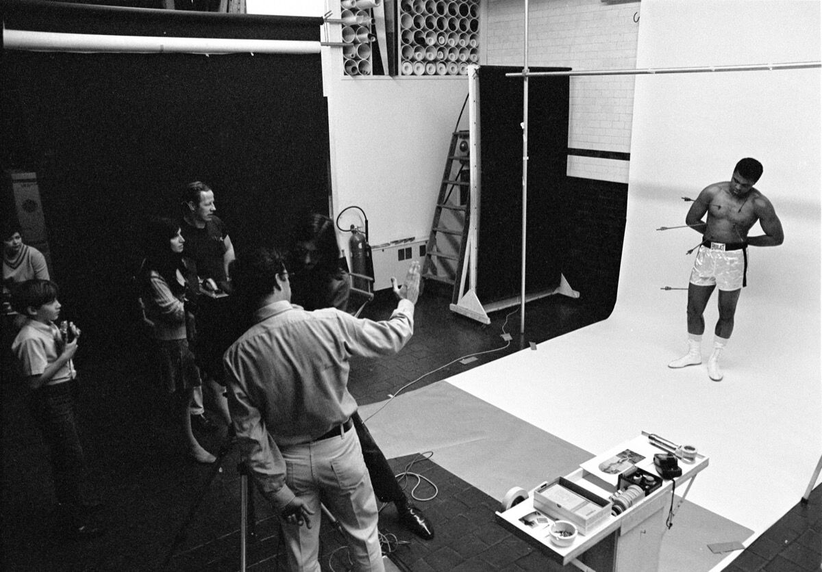 On set with Muhammad Ali for the April 1968 cover shoot of Esquire. Courtesy of Carl Fischer.