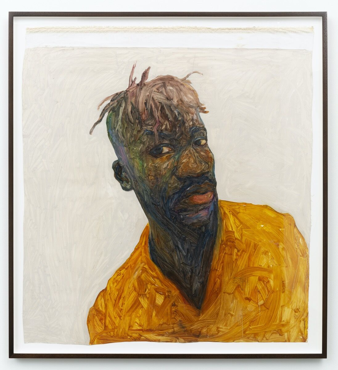 Amoako Boafo, Self portrait, 2017. © Amoako Boafo. Photo by Peter Kaise. Courtesy of the artist, Mariane Ibrahim, Roberts Projects, and Marianne Boesky.